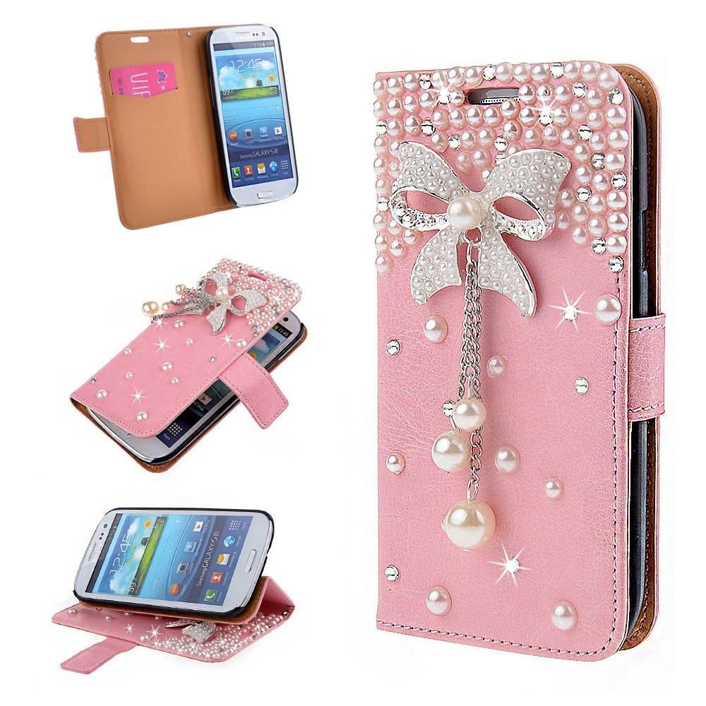 Pink Diamond 3D Bow Wallet Case Stand Cover for Samsung