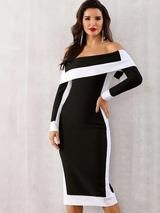 Vestido ajustado con hombros descubiertos y bloques de color Adyce  – Moda