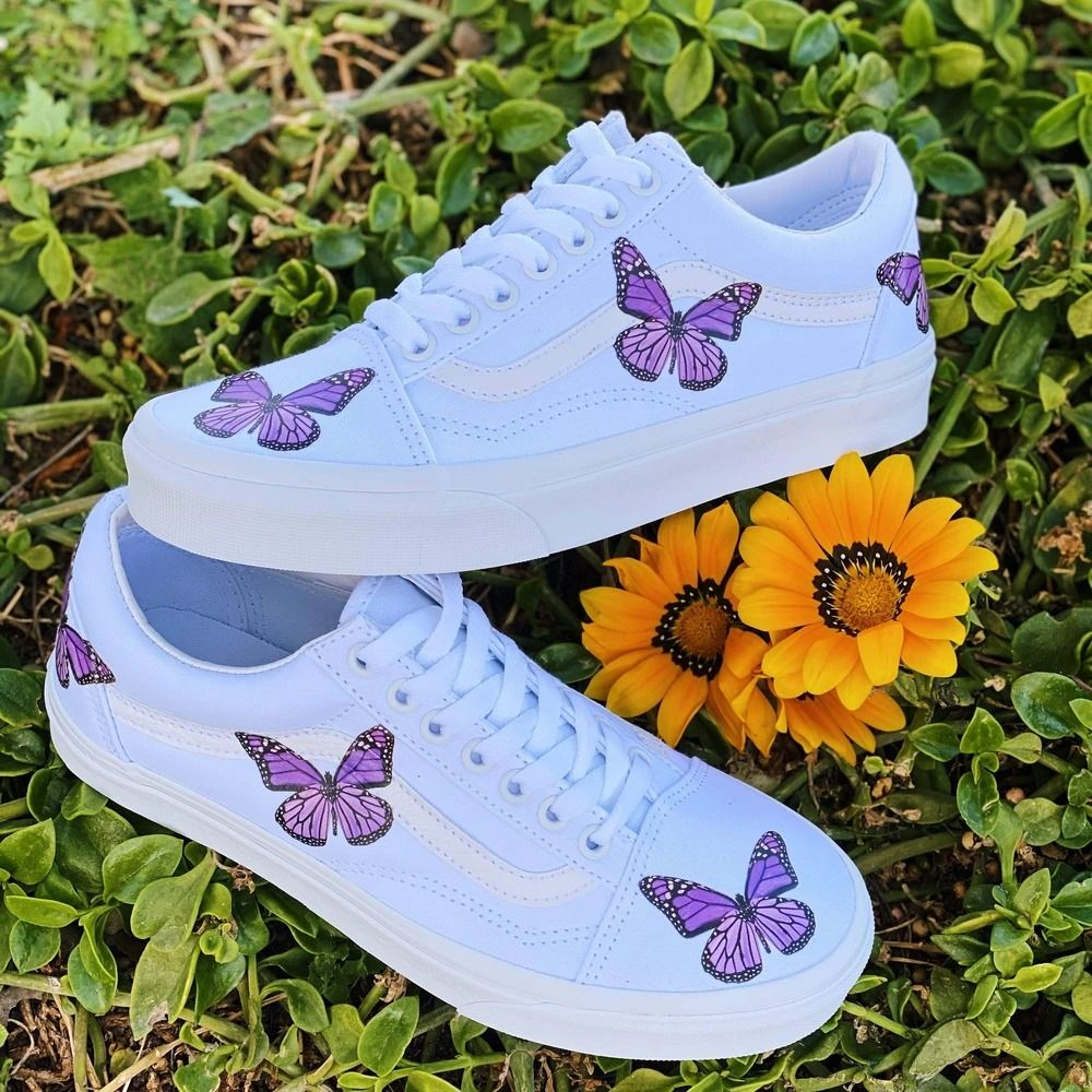 Purple Butterfly White Old Skool in 2020 Colorful nike