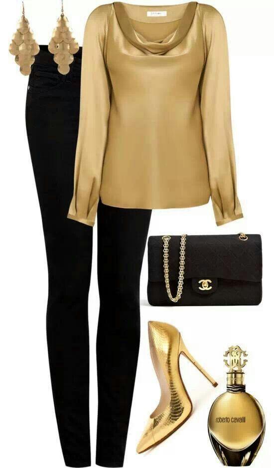 Dorado y negro. Excelente combinación