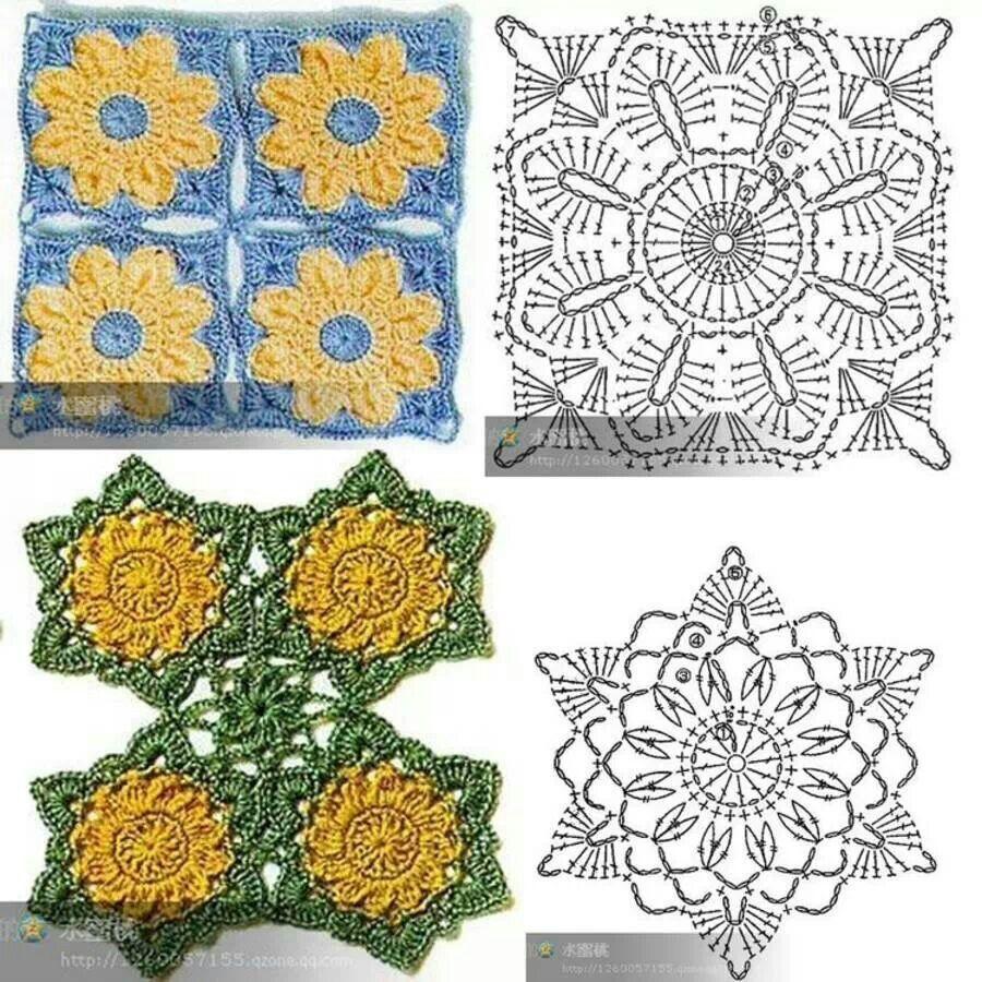 Squares | crochet | Pinterest | Cuadrados, Espirales y Círculos