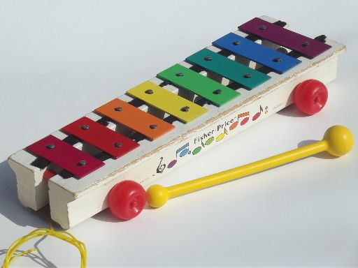 Fisher,Price xylophone, 60s 70s vintage metal chime wood