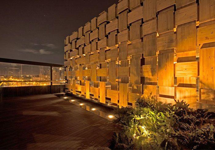 Exclusivo Terraza de madera bar de la azotea Decoración Vegetación