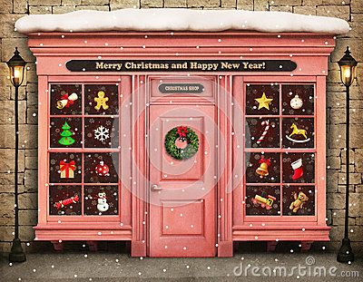 Storefront Christmas Stock Illustrations, Vectors, & Clipart – (22 ...