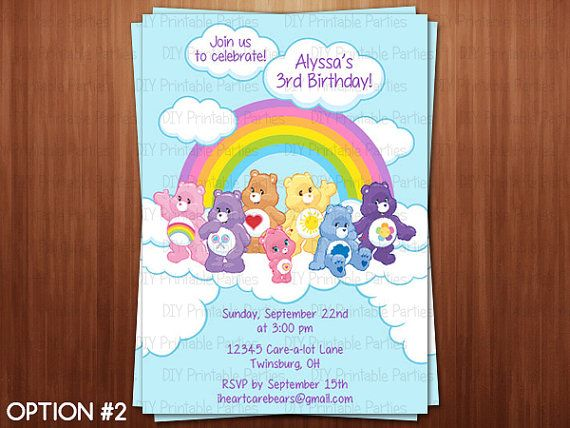 Printable Diy Care Bears Theme Personalized Happy Birthday