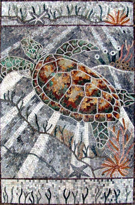 An091 Marble Mosaic Marine Life Turtle Tile Animal