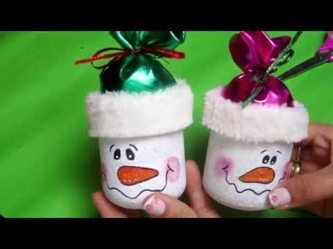 Diy dulceros de hombre de nieves hechos frasco de vidrio tarro de compota youtube navidad - Adornos para regalar en navidad ...