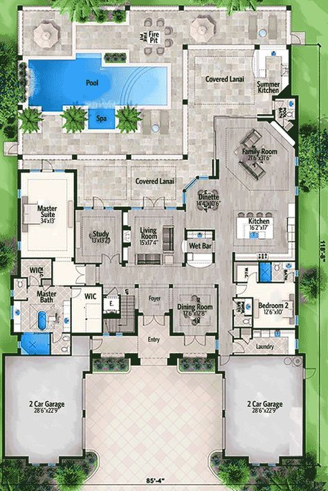 Plan 86016bw Five Bedroom Florida House Plan Florida House Plans Luxury House Plans Architectural Design House Plans
