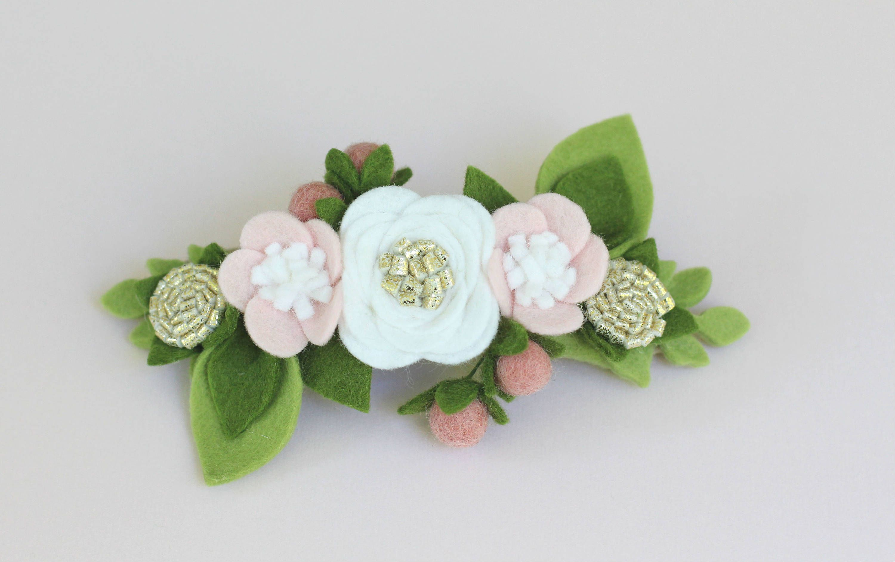 This Listing Is For One Felt Flower Crown Headband With Pink Gold