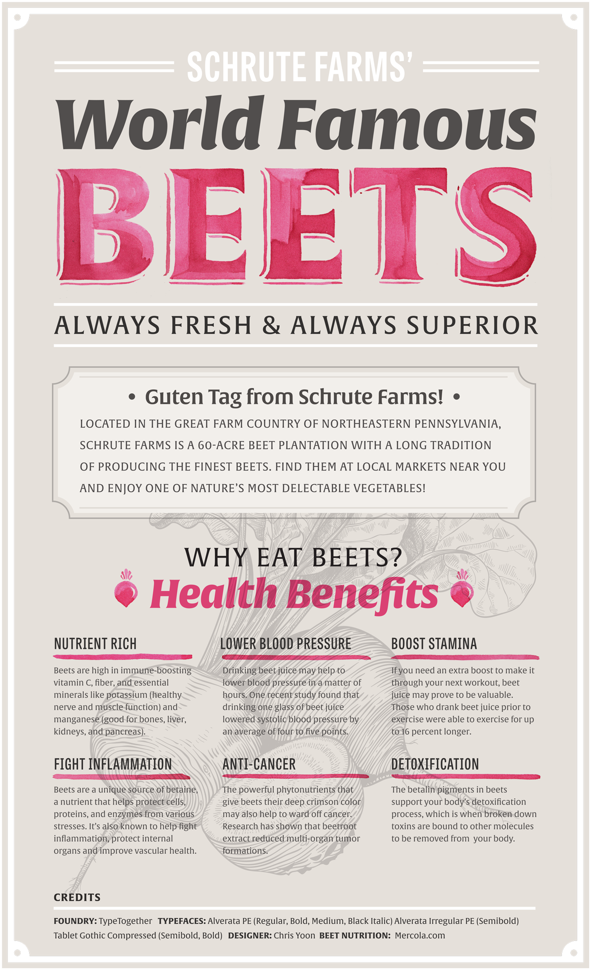 Schrute Farms' World Famous Beets designed by Chris Yoon