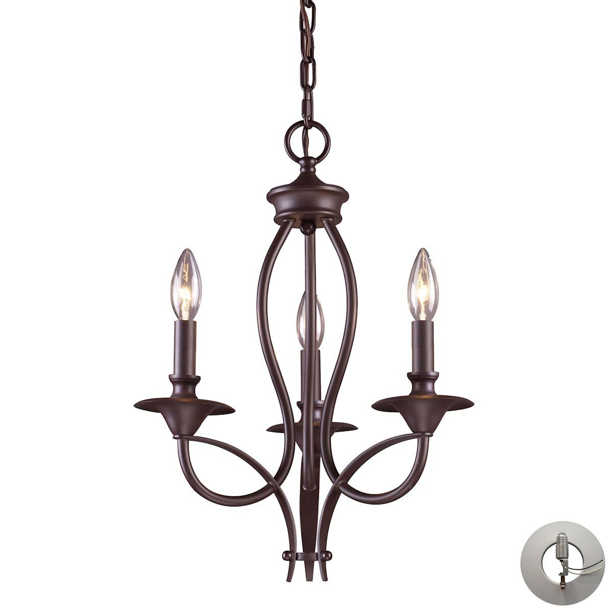 Medford light chandelier in oiled bronze includes recessed
