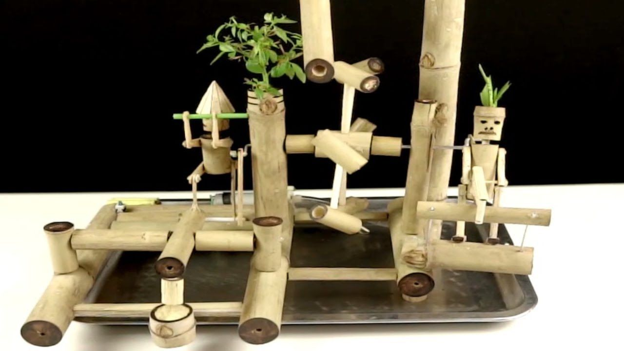 How To Make Bamboo Water Fountain With Water Powered Hammer And Hand Saw Bamboo Water Fountain Water Fountain Bamboo Fountain