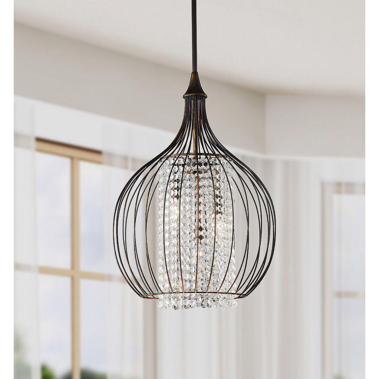 Indoor 3 Light Copper Crystal Pendant Chandelier Black