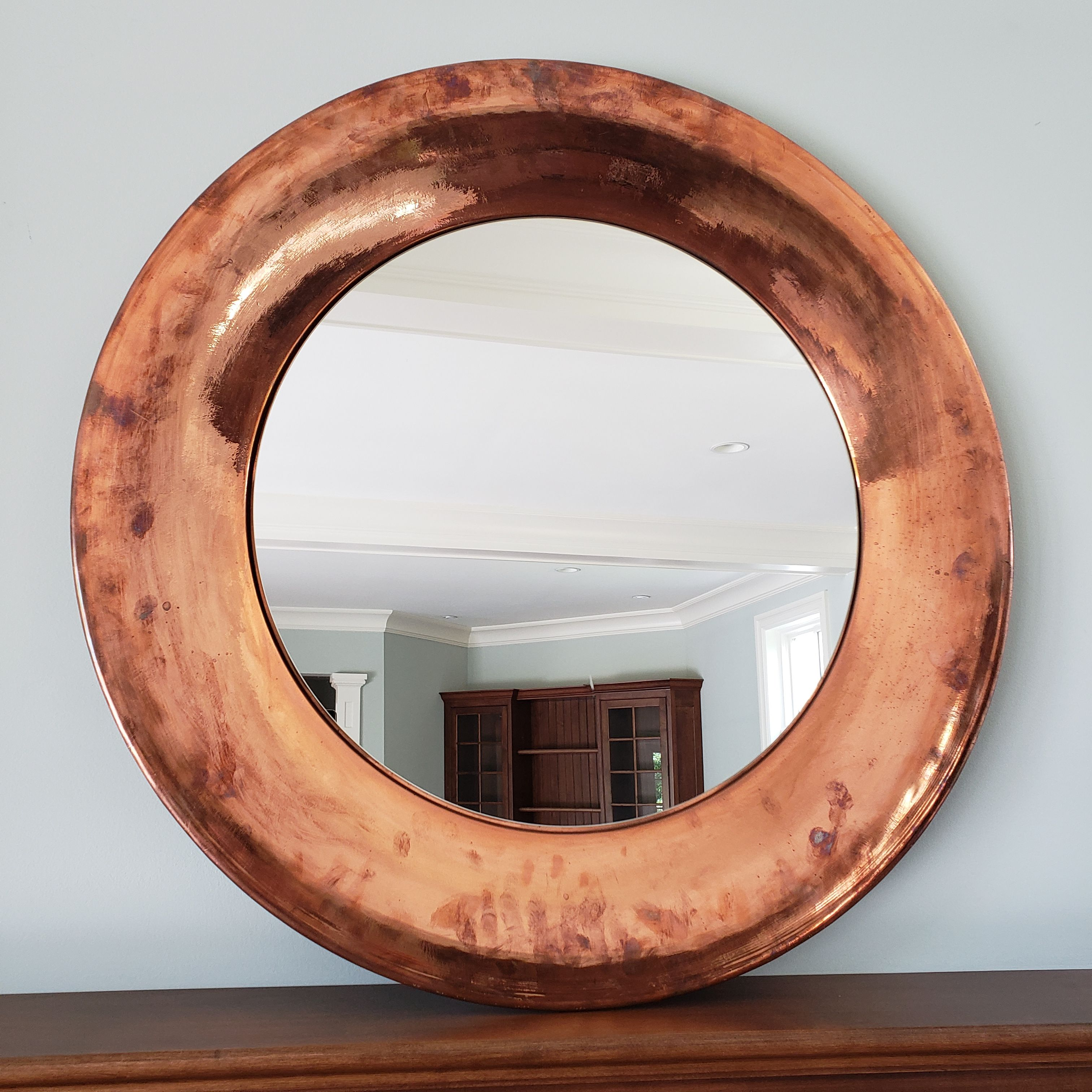 This Very Large Copper Mirror Would Make A Statement In Any Room Available This Sunday In Lower Gwynedd Mirror Copper Copper Mirror Mirror Estate Sale Finds