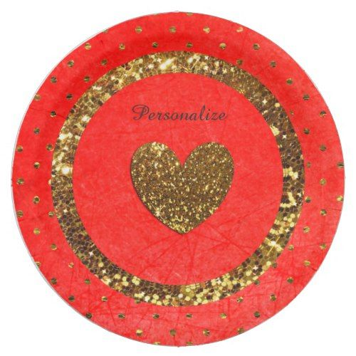 Red u0026 Gold Glitter Personalized Paper Plates  sc 1 st  Pinterest & Red u0026 Gold Glitter Personalized Paper Plates | Red gold Gold ...