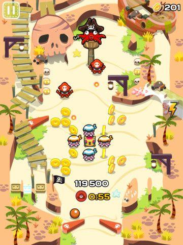 ◆Pinball Maniacs: Cartoon Pinball Adventure [Massive Finger][2012-06-26][id489253296]◆Action pinball。ミッション制で、一定スコア以上、制限時間内、コイン一定数以上獲得でのミッション達成が要求され、これら3項目の達成で★がそれぞれ1つもらえる。★3つでのクリアが難しい。パワーアップアイテムをゲーム内通貨で購入すると★の獲得が容易になる。ゲーム内通貨は実費で購入可能。ピンボールにこの課金システムを導入したのはおそらくこのゲームが初。プレイ時間が短いので気軽に繰り返し何度でも遊べる。[Artwork: Frederic Smyczynski]