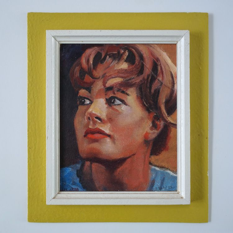 Well painted portrait of Romy Schneider, oil on board, signed J. Delamer(?) The portrait is attached to mustard yellow painted board. Dimension painting 25,5 cm x 20 cm Dimension frame 37 cm x 32 cm