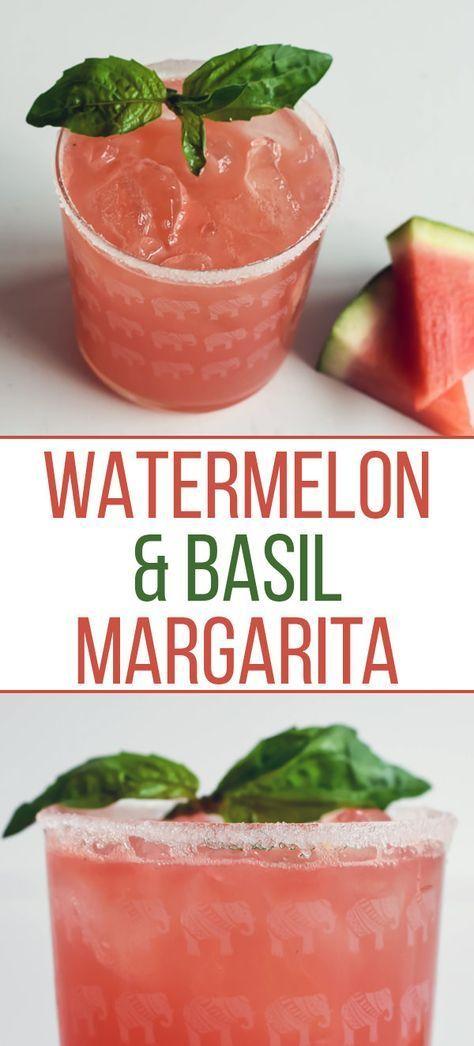 Watermelon & Basil Margarita [RECIPE] #drinks