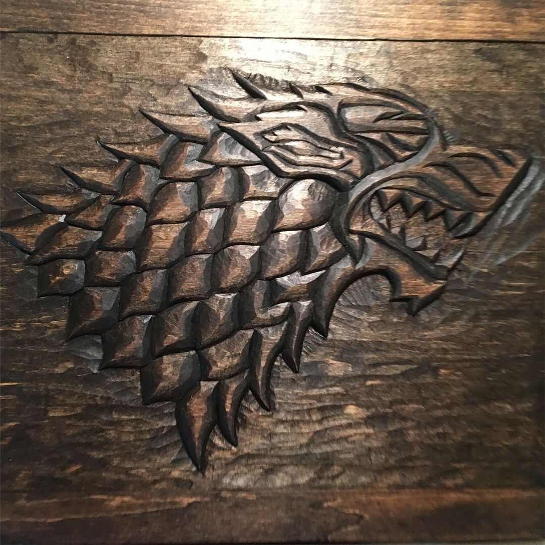 Hand Carved Direwolf Plaque Inspired By House Stark Game