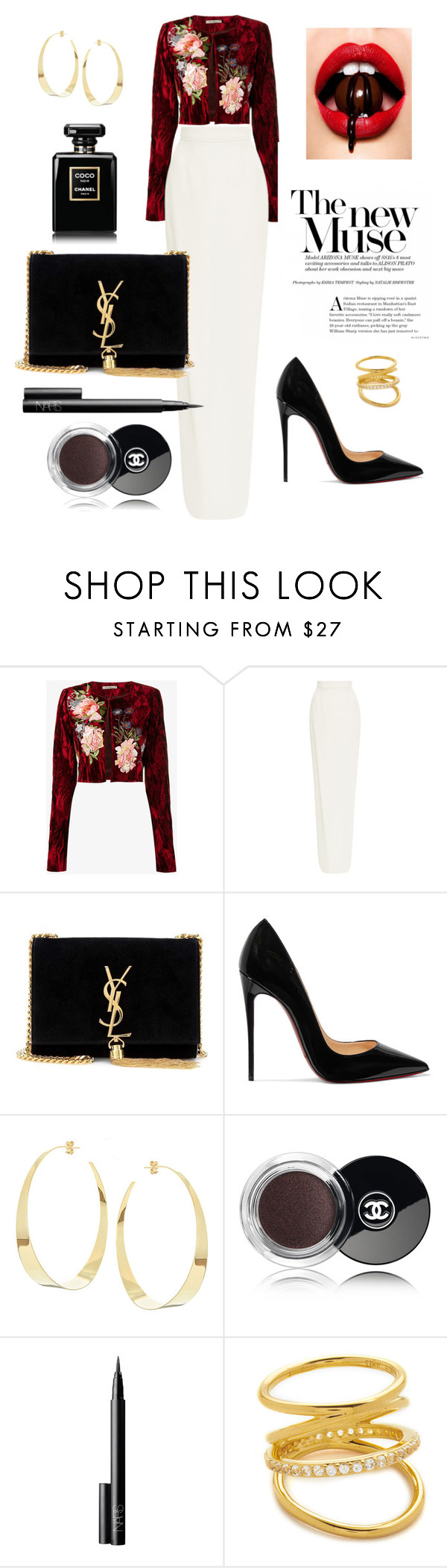 """""""The new muse"""" by norathelemon ❤ liked on Polyvore featuring Alice Archer, Monique Lhuillier, Yves Saint Laurent, Christian Louboutin, Lana, Chanel, NARS Cosmetics and Elizabeth and James"""