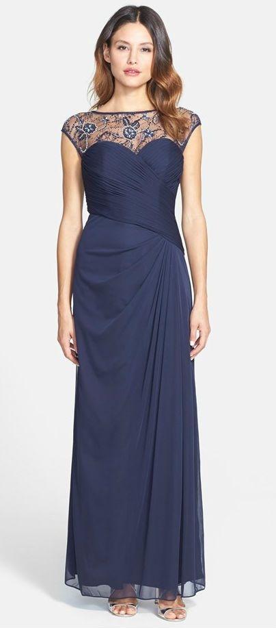 A Gorgeous Navy Blue Evening Gown With Illusion Neckline Details Beautiful Dress For The Mother Of Bride Or Groom
