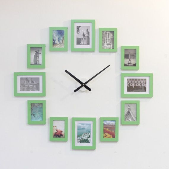 Photo Picture Frame Wall Clock Green 12 by HOMELOO on Etsy | Picture ...