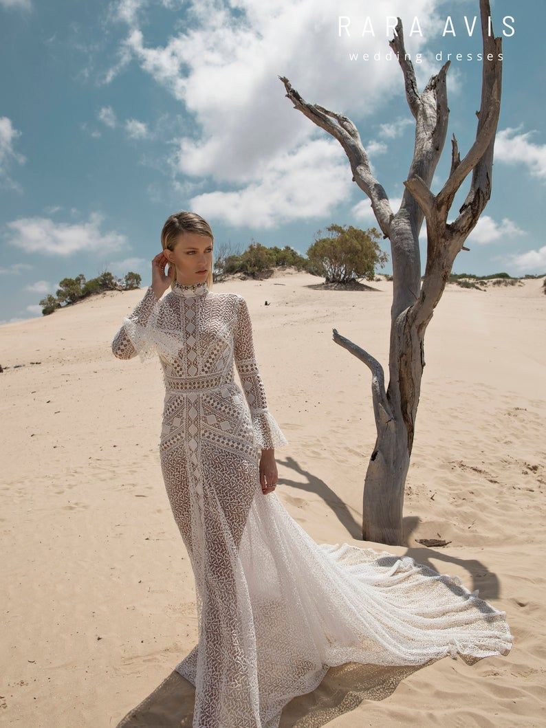 Boho wedding dress ANDI with long train • Wedding dress with long train •