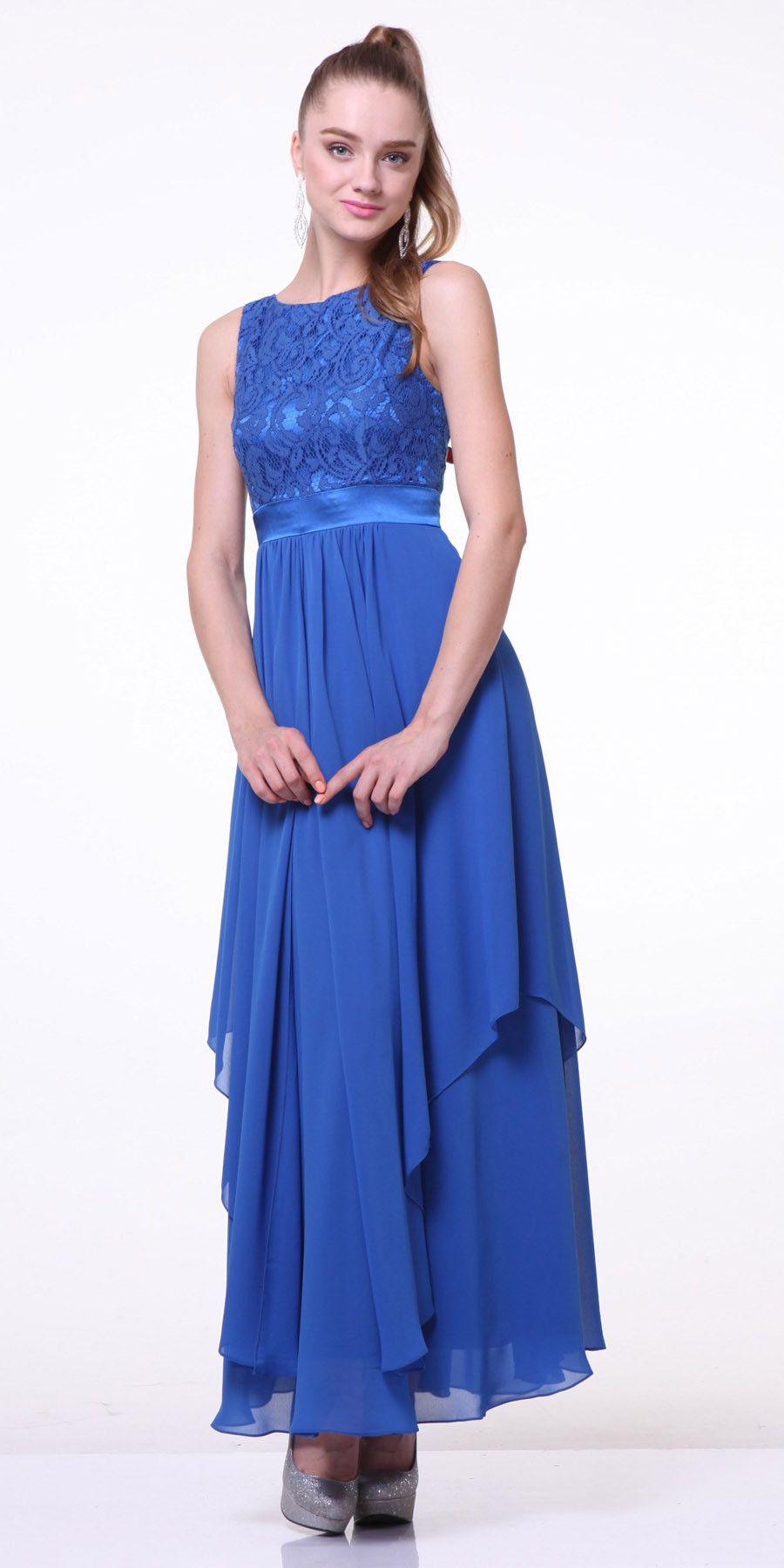 Clearance tea length bridesmaid dress royal blue lace top wide