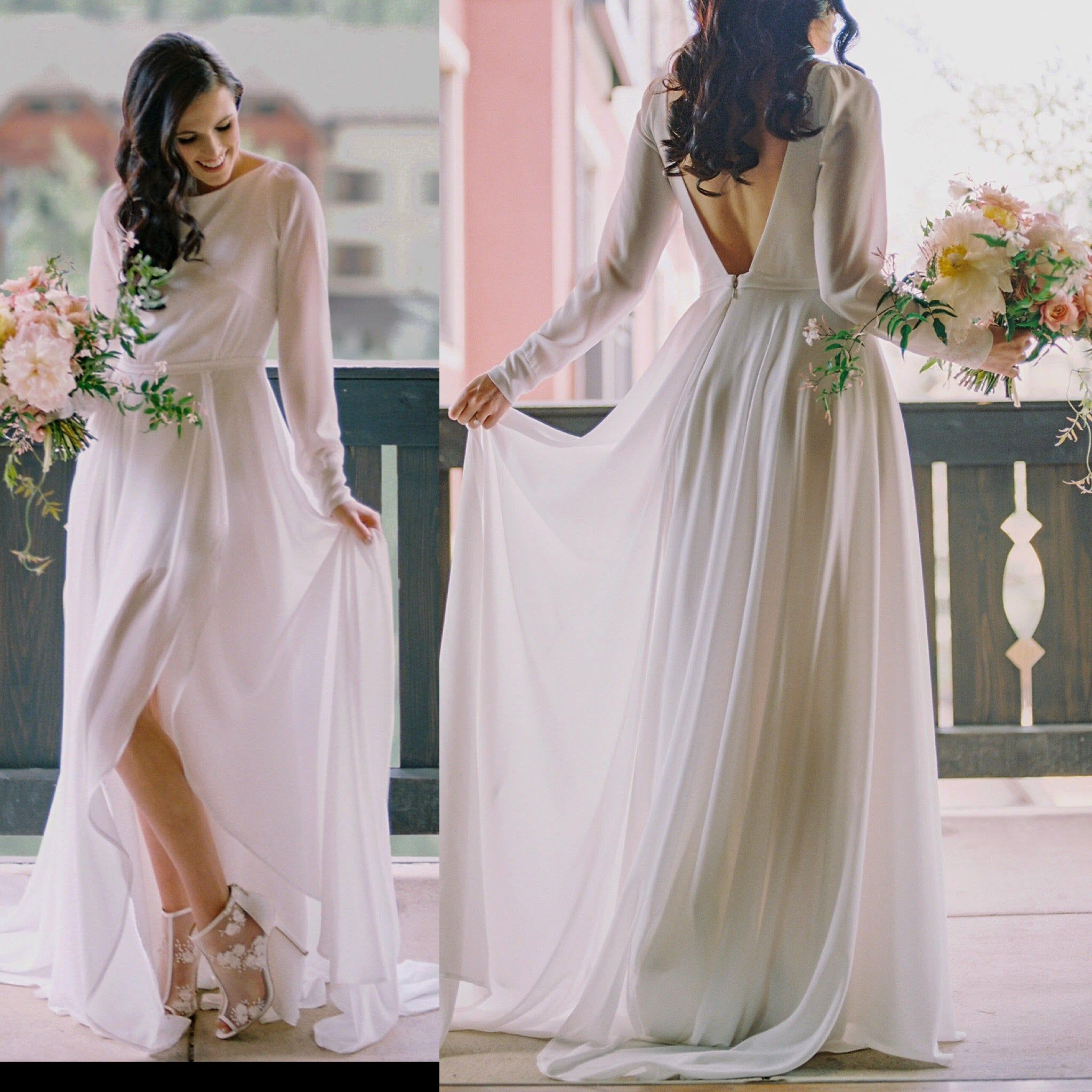 Chiffon Long Sleeve Wedding Dress with a Sexy Slit, Vintage Style, Low Back, off white, High Neck, Classic And Bohemian Bridal Gown