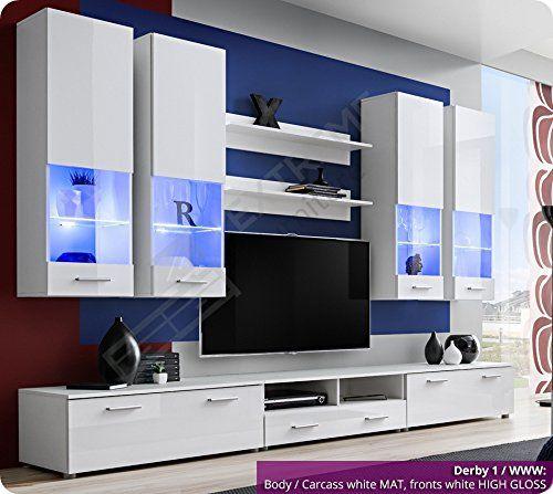 Living Room High Gloss Furniture Set Display Wall Unit Modern Tv Cabinet Derby