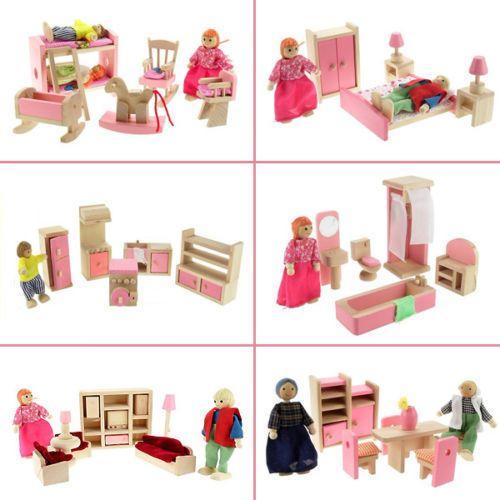 Wooden Furniture Dolls House Family Miniature 5 Room Set Dolls For Kids Children