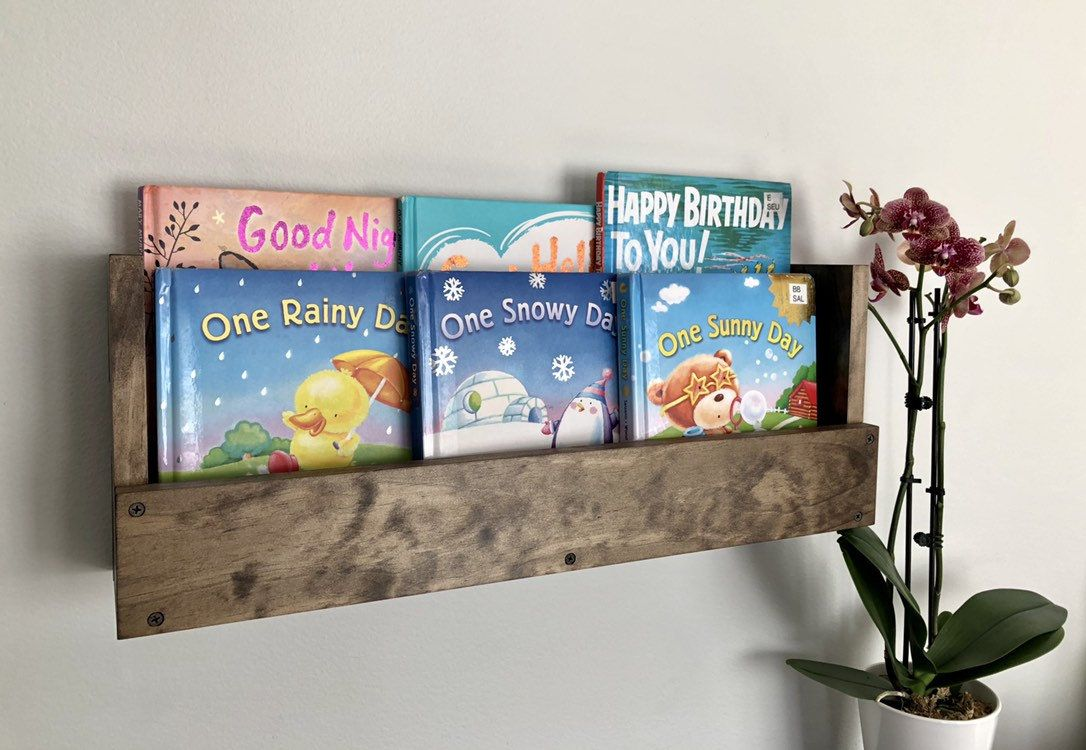Kids Room Wall Hanging Book Shelves Nursery Book Shelves Rustic Book Shelf Wall Mounted Books Storage Book Shelf Rustic Books Nursery Book Rustic Bookshelf