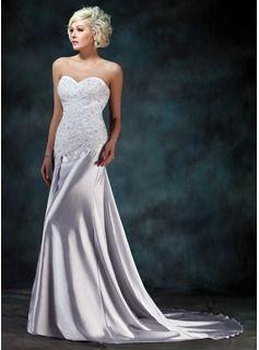 Trumpet/Mermaid Sweetheart Watteau Train Charmeuse Wedding Dress With Lace Beading (002000157) - JJsHouse