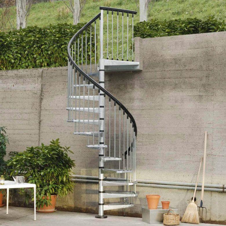 escalier ext rieur spiro spiral en acier galvanis. Black Bedroom Furniture Sets. Home Design Ideas
