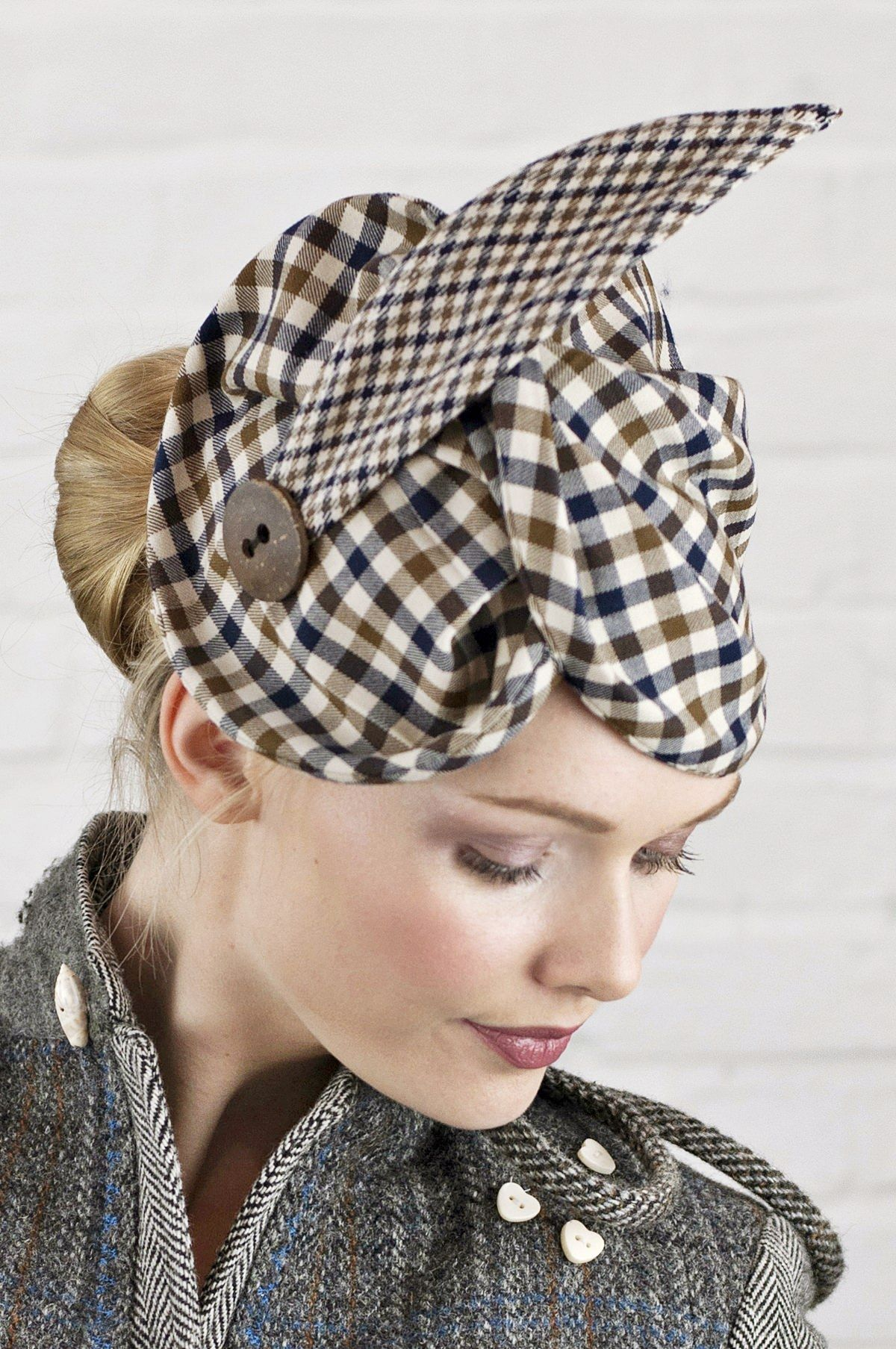 4baf4a4057a382 #tartan #tartanhat #tartanstyle #millinery #model #photoshoot #madeinuk  #harristweed #handcrafted #uniqueheadwear