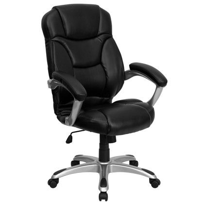 contemporary leather high office chair black. Flash Furniture High Back Black Leather Contemporary Executive Swivel Chair With Arms Office C