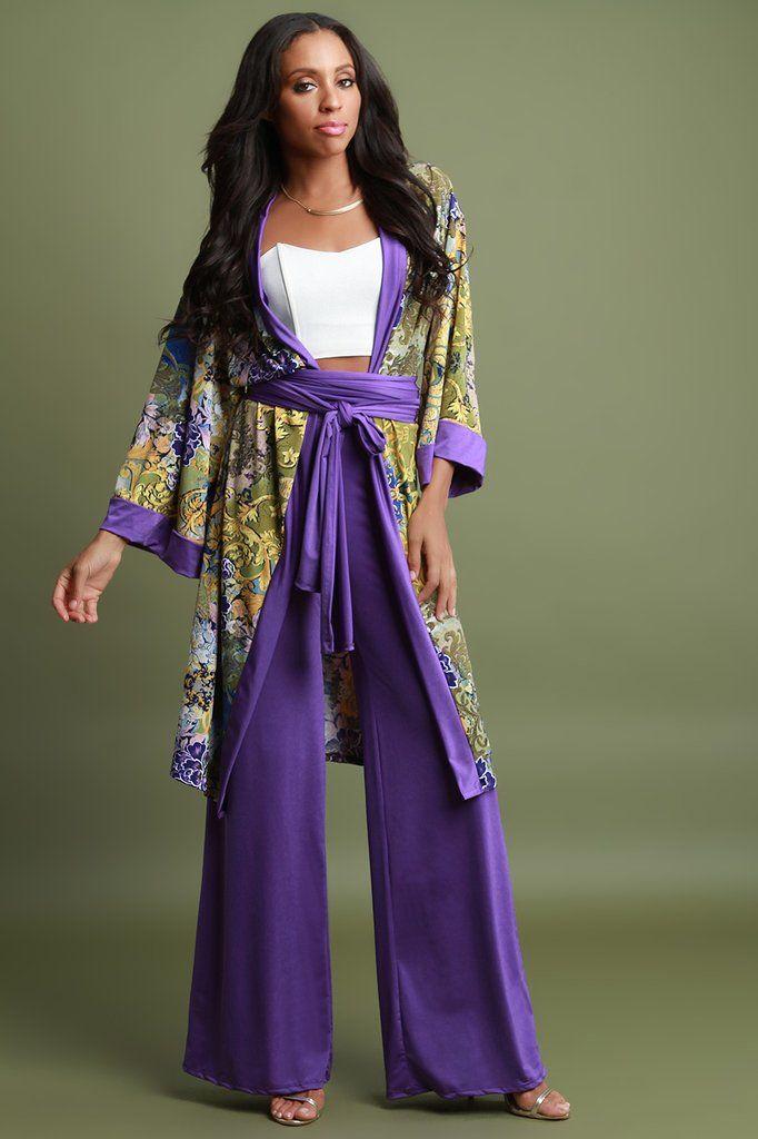b8b0eb1aa6 Baroque Floral Self-Tie Kimono and Palazzo Pants Set | Available at ...