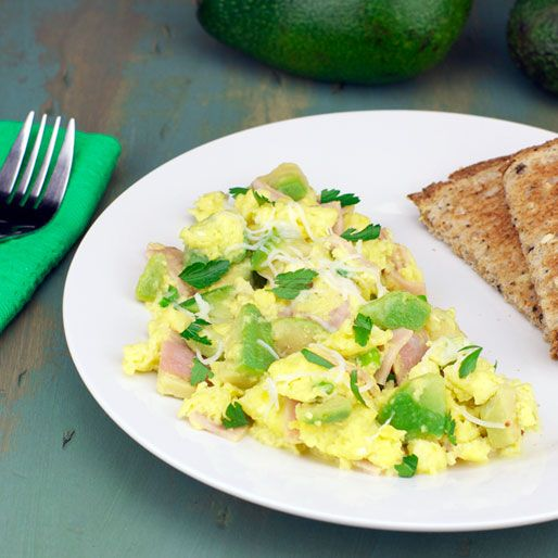 Ham And Avocado Scramble Recipe: Green Eggs And Ham (Accents Of Green From Avocado, Green