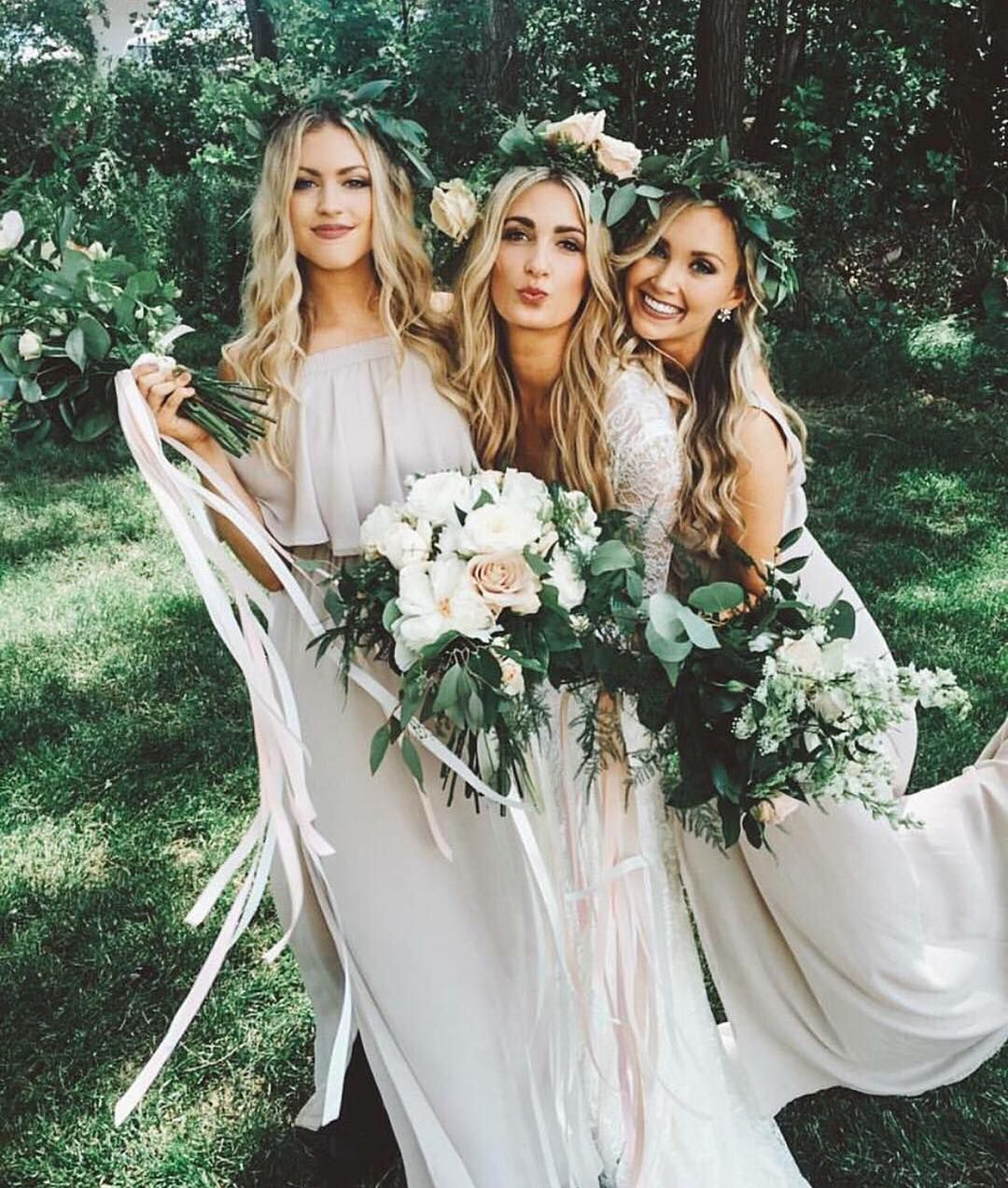 deab27aa899 A bride and her besties in Show Me The Ring Bridesmaid Dresses