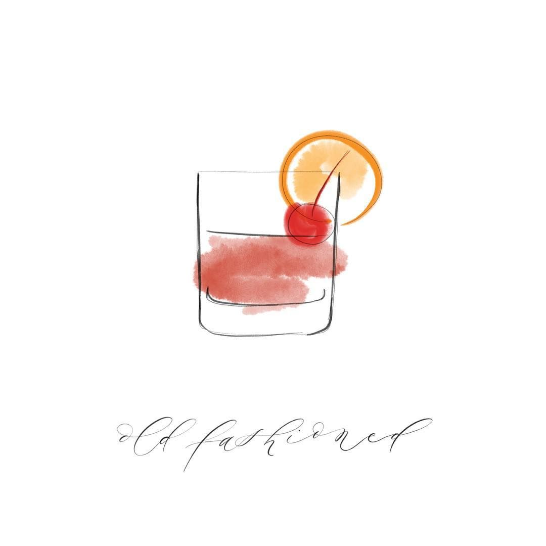 Hand Drawn Old Fashioned Classic Cocktail Created With Line Art Watercolor And Calligraphy Cocktail Illustration Old Fashioned Cocktail Calligraphy Design
