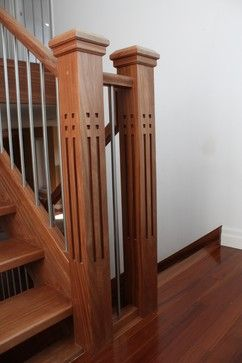 Mission Style Newel Posts Design Pictures Remodel Decor And   Mission Style Newel Post   Craftsman Style   Maple   Stained Handrail   Stair Banister   Raised Panel
