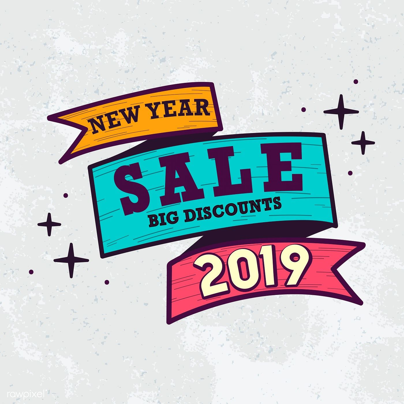 New Year 2019 Sale Emblem Vector Free Image By Rawpixel Com Chayanit Vector Free Newyear Vector