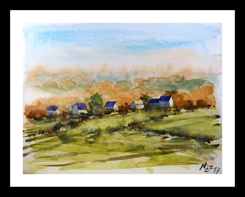 Watercolor Painting Sunset Countryside Art Houses Painting