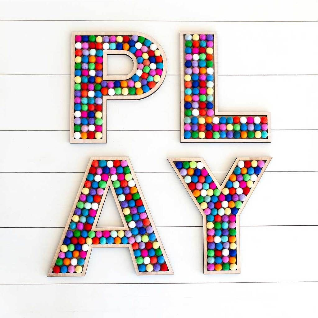 f02c8de28 PLAY Letters in 2019 | Rainbow Room | Playroom, Room Decor, Lettering