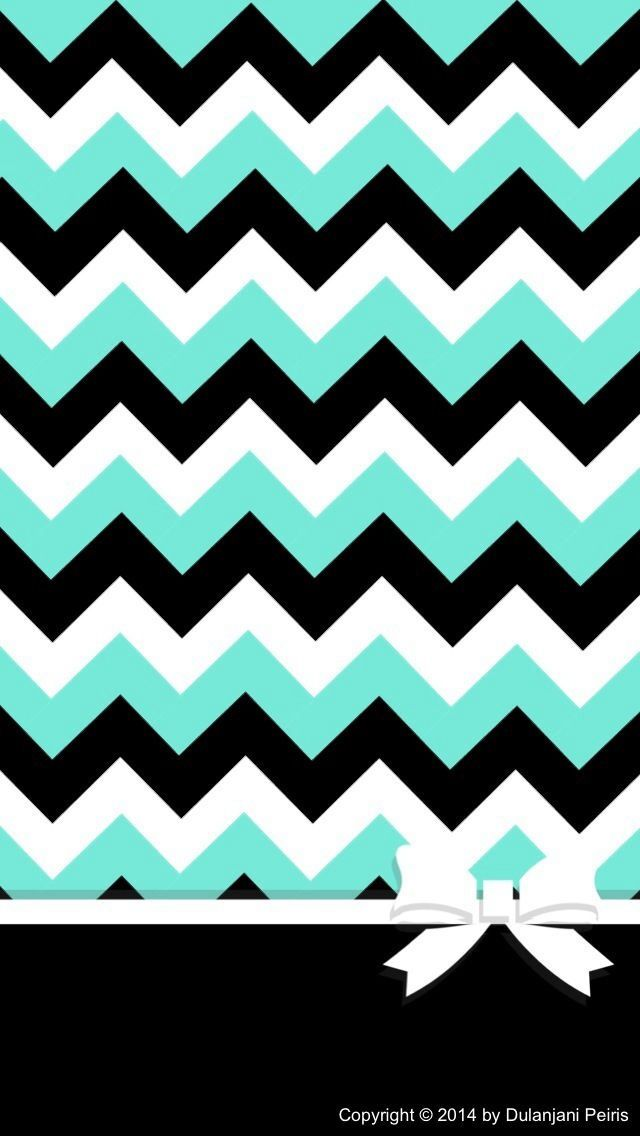 Teal black white chevron with a bow chevron for Teal chevron wallpaper