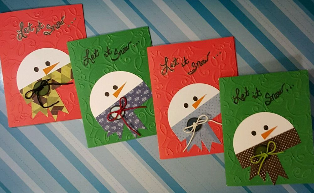 Handmade Snowman Holiday Cards - Set of 4 in Crafts, Handcrafted & Finished Pieces, Greeting Cards & Gift Tags | eBay