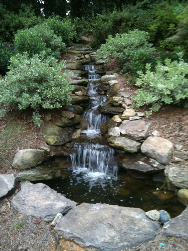 Scenic sunday my client built a waterfall in her for Yard ponds and waterfalls