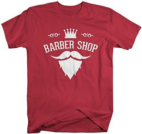 Shirts By Sarah Men's Barber Shop T-Shirt Stylist Mustache Goatee Shirts