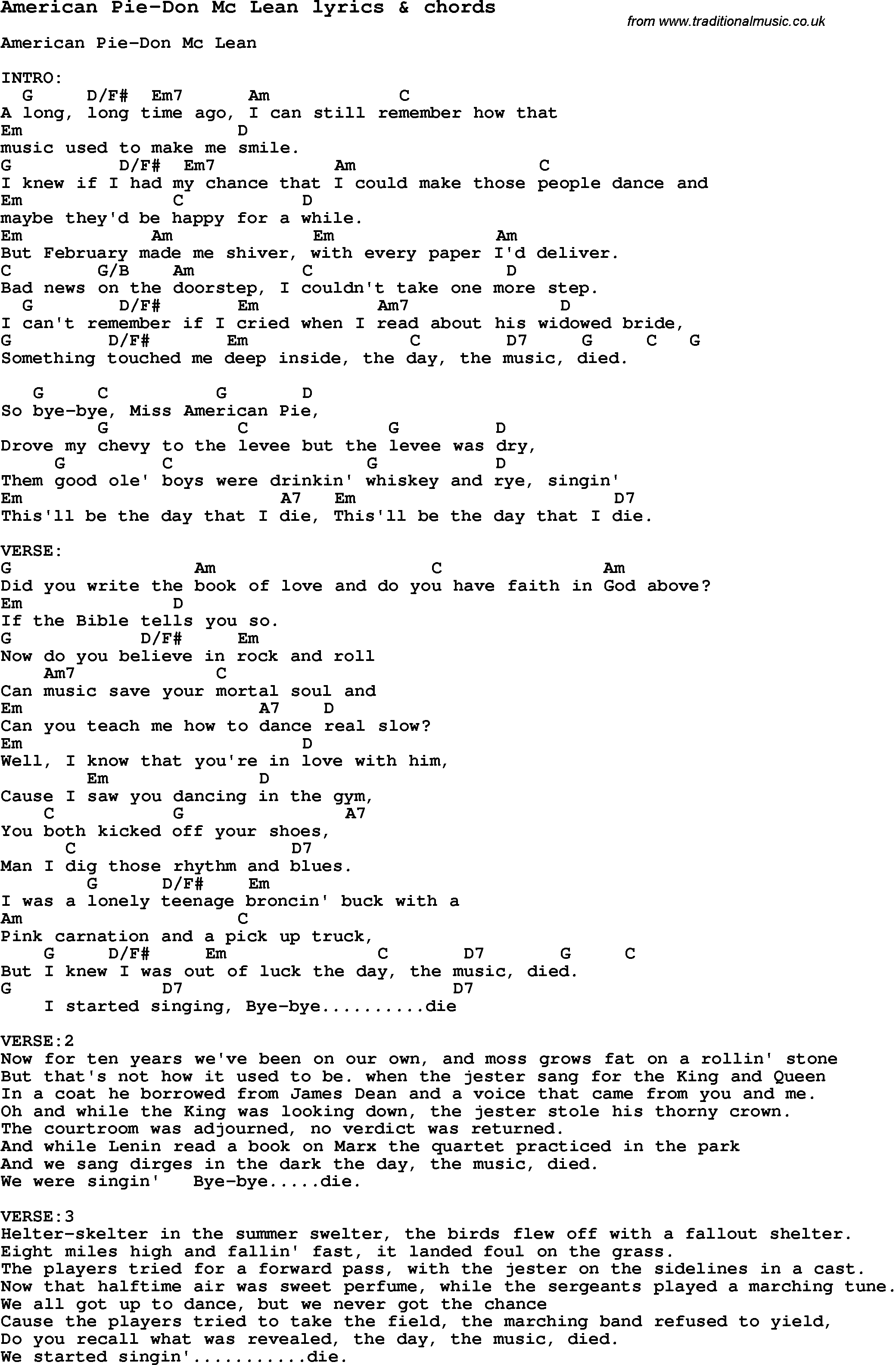 Love Song Per American Pie-Don Mc Lean Con Chords-9602