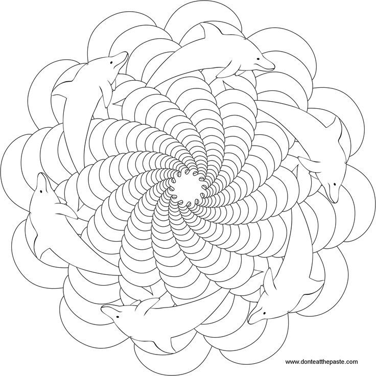 Dolphin Mandala Animal Pictures To Color Coloring Pages Pattern
